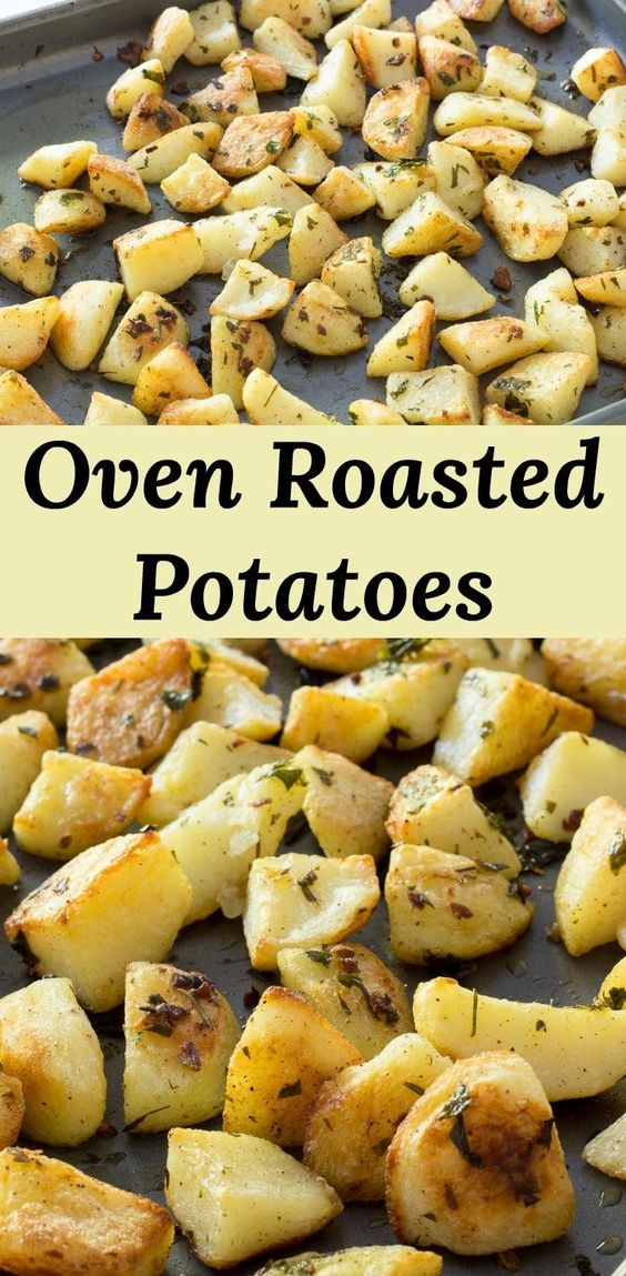 Garlic Oven Roasted Potatoes, fast to put together and a family favorite.  A quick parboil cuts down on baking time and ensures crispy outsides.  via @peartreechefs