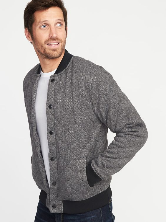 Quilted Sweater-Fleece Bomber Jacket for Men | Old Navy