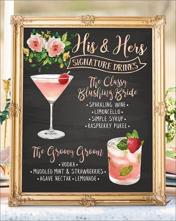 Digital Printable Wedding Signature Drinks Sign, Wedding Signature Cocktail Sign, Chalkboard Bar Menu, Wedding Bar Menu Sign    #WeddingSundaeStudio #WeddingSundae  #wedding #weddings #signs #sign #signage #bar #menu #signature #drinks #drink #cocktails #cocktail #watercolor #chalkboard  #boho #bohemian #floral #flowers #botanical #foliage   #romantic #rustic #modern #woodland #outdoor #backyard   #food #illustration #alcohol #hisandhers #calligraphy #blushing #bride