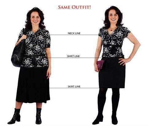 Decote em V + blusa mais curta + saia acima do joelho = mais alta e magra