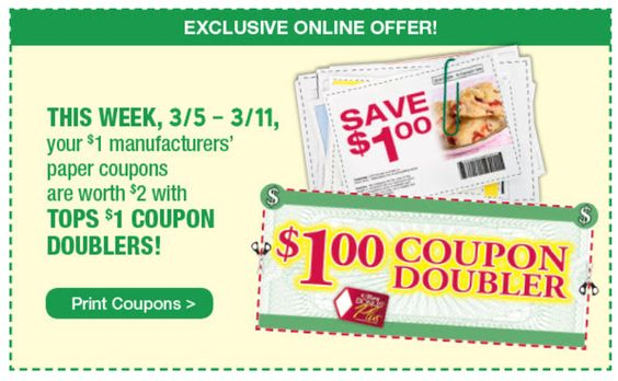 SURPRISE-- Tops Markets has Online Dollar Doublers starting 3/5!!!- Print yours here - http://www.couponsforyourfamily.com/tops-markets-online-dollar-doublers/