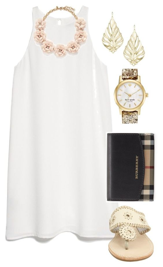 School tomorrow by madelyn-abigail on Polyvore featuring MANGO, Jack Rogers, Burberry, J.Crew, Kate Spade and Kendra Scott: