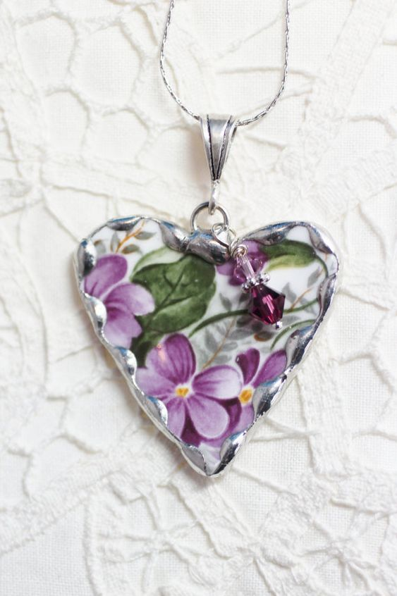 Broken China Jewelry Heart Pendant Necklace - Violets with a Sterling Silver Necklace Included