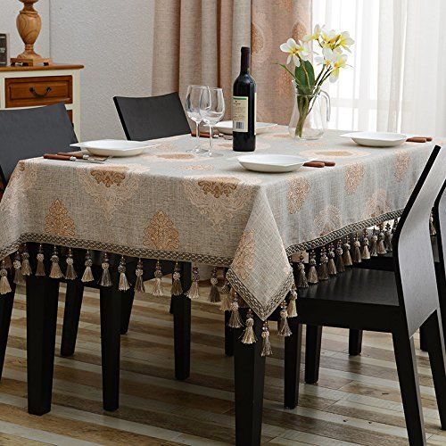 Wfljl European Style Tablecloth Cotton Decoration Kitchen Coffee Table Dining Table Cover Cloth 120x120cm