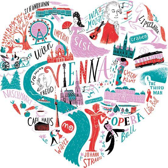 Migy Illustration viennaheartwhitejpg Typography – Vienna Travel Map