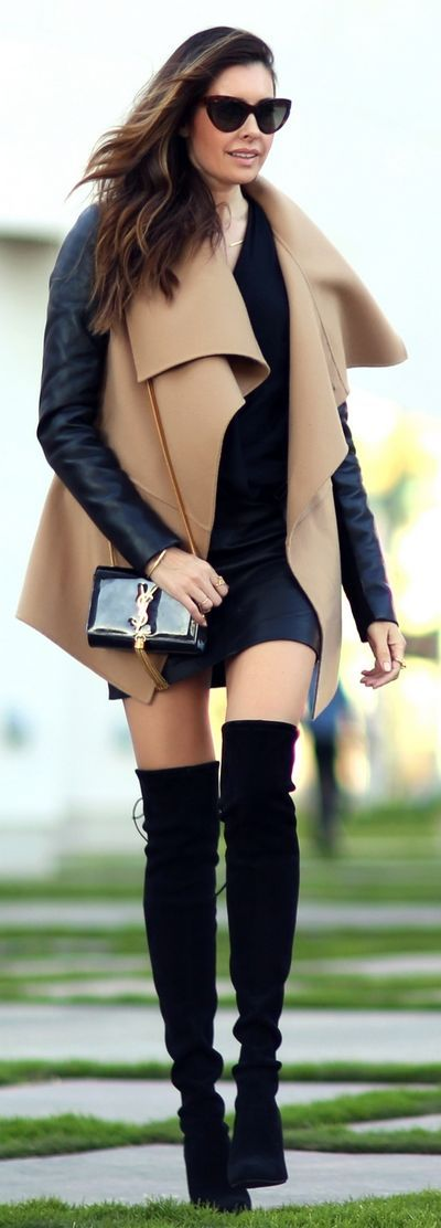 Wrap coat and over the knee boots:
