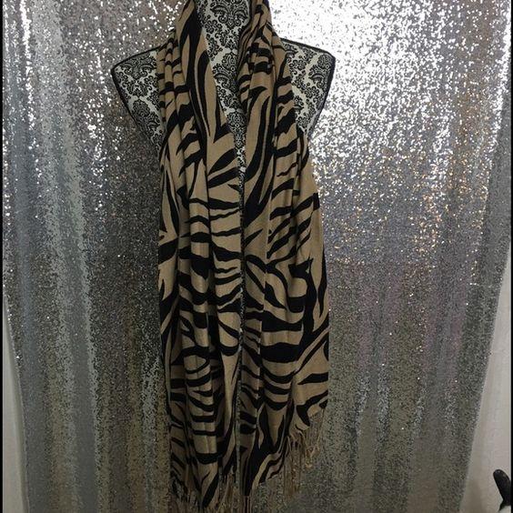 Tiger Print Scarf w/ Fringe Detail Tiger print scarf with fringe detail. Accessories Scarves & Wraps