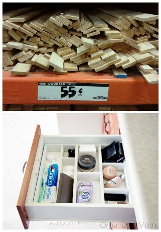 Fashion inexpensive drawer dividers.  Painted pieces of scrap wood make excellent drawer dividers. Just make sure they are shallow enough for the drawer to close. - http://www.lifebuzz.com/bathroom/