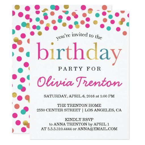 Best 494 stylish 16th birthday party invitations ideas on pinterest colorful confetti kids birthday party invitations stopboris Images