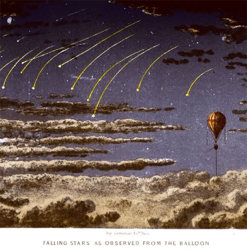 """mythologyofblue:  James Glaisher, Travels in the Air, 1871  """"Falling Stars As Observed From the Balloon.""""  Falling stars as observed from the balloon."""