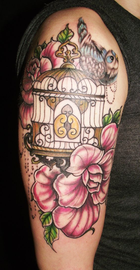 Bird Cage Tattoo On Shoulder Description flowers birds