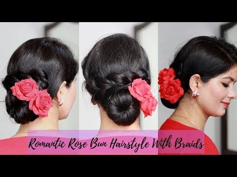 Romantic Bun With Loose Braid Hairstyle For Party Romantic Dinner Date Youtube Loose Braid Hairstyles Hairstyle Braided Hairstyles