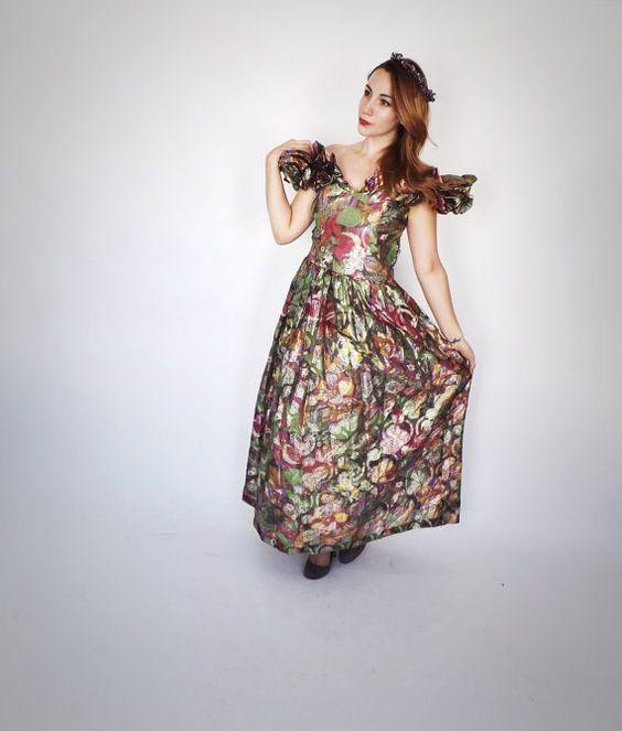 Vintage 1980s Metallic Lame Prom Gown Princess Dress Rocker ...