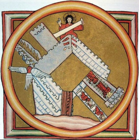 """La ciudad santa de Dios en el """"Scivias"""" de Hildegard de Bingen Rupertsberger Kodex en Wiesbaden (Alemania), del siglo 12 @Libroantiguo"""