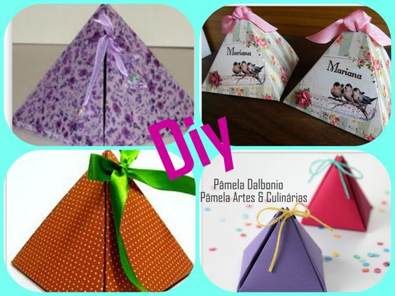 http://youtu.be/22I3QPJle_8 Diy: Lembrancinhas caixas modelo piramide Olá td bem? Nesse vídeo eu ensino o passo a passo de uma caixinha em formato de piramide para lembrancinhas. Espero que gostem.
