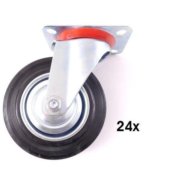 24x Lenkrolle mit Metallfelge Transportrolle Schwerlastrolle Möbelrolle Ø75mm