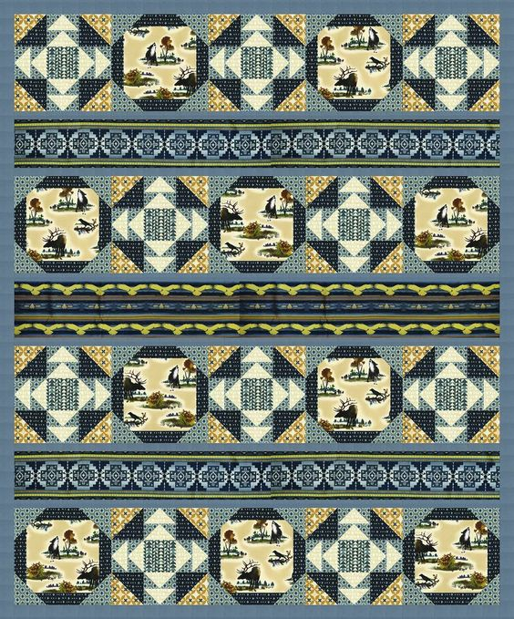 """Chase and Buck Quilt by Heidi Pridemore / 63""""x76"""" - Instructions Coming Soon…"""