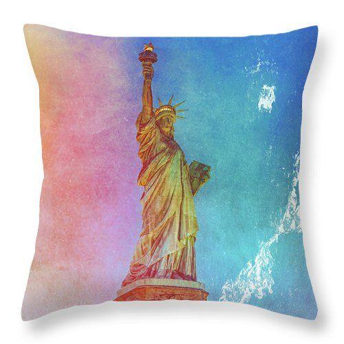 Stormy Statue Of Liberty Throw Pillow Throw Pillows Pillows Pillow Sale
