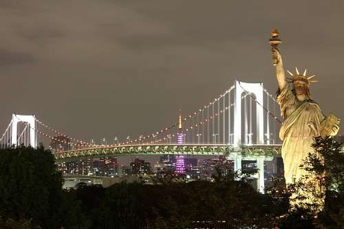 Imagenes Gratis New York New York Estatua De La Libertad Noche Iluminado Ciudad Estados Unidos Estatua De La Libertad Puente De Brooklyn Paisaje Urbano