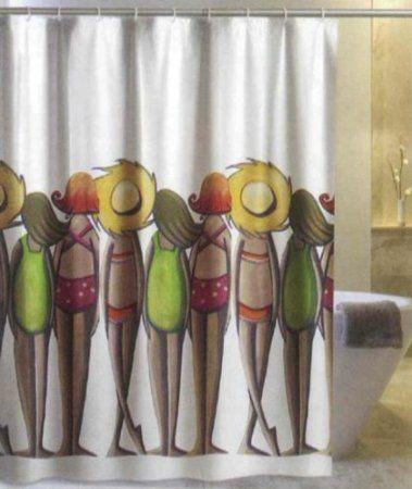 DUSCHVORHANG BANHISTAS FRAUEN weiß bunt 180cm breit x 180cm lang Vinyl mit Ringen shower curtain: Amazon.de: Küche & Haushalt
