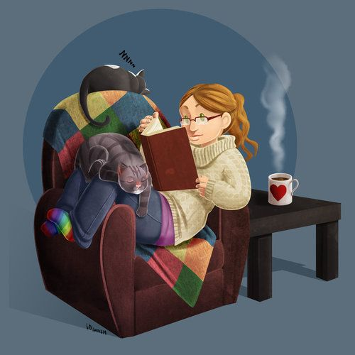 Happiness is a good book, comfy chair, hot cup of tea and a friend that won't talk while you're reading.: