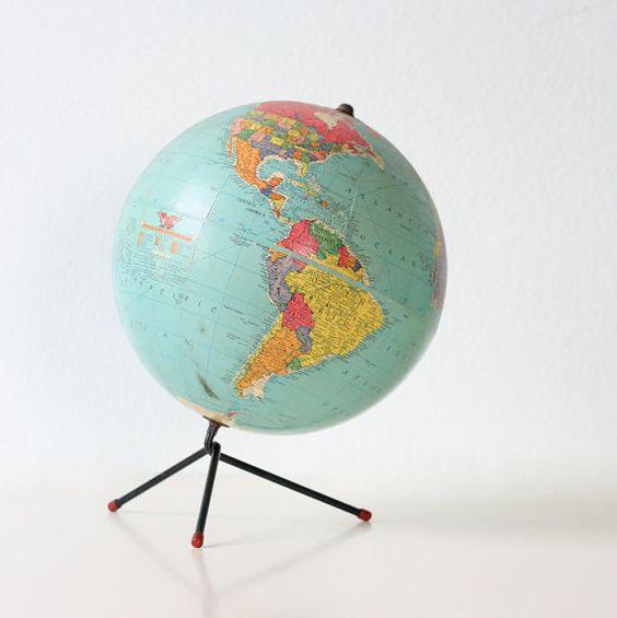 Vintage Retro Globe with tripod base by Replogle