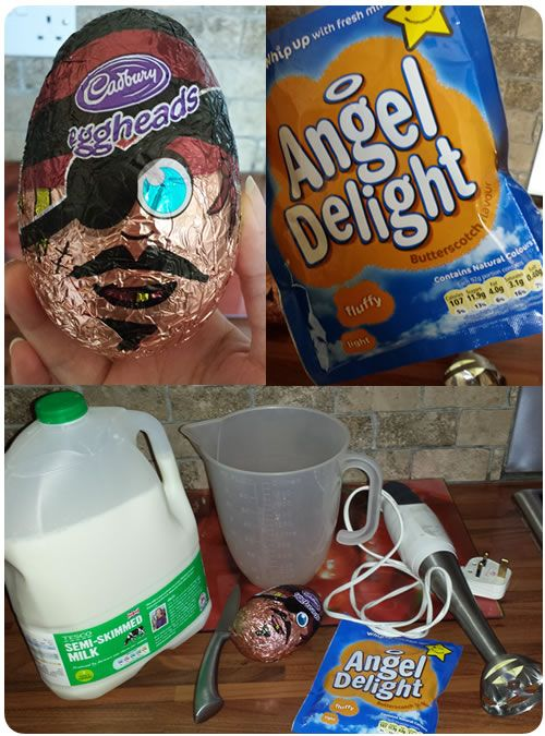 Easter egg filled with Angel Delight.  Genius idea!