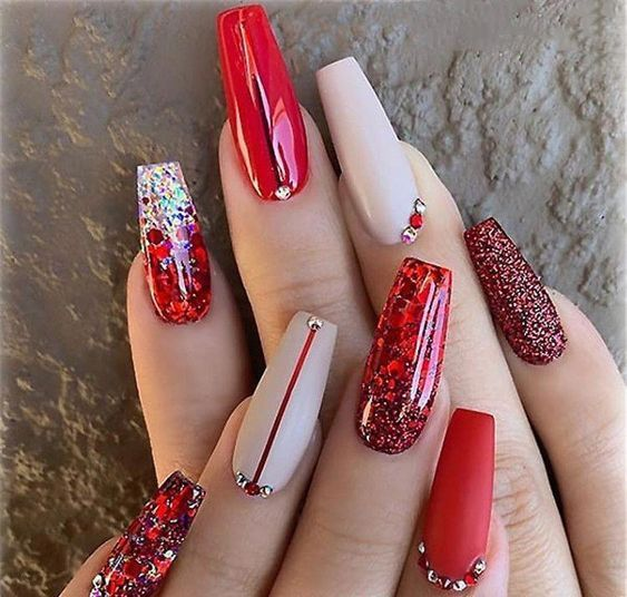 50 Festive Red Coffin Christmas Nails To Inspire You Coffin Nails Designs Red Acrylic Nails Red Christmas Nails