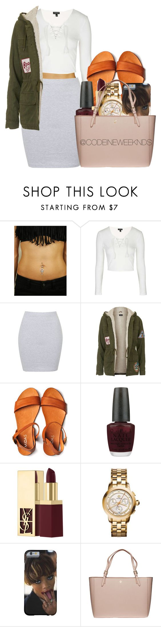 """1/30/16"" by codeineweeknds ❤ liked on Polyvore featuring Topshop, Annie Greenabelle, OPI, Yves Saint Laurent and Tory Burch"