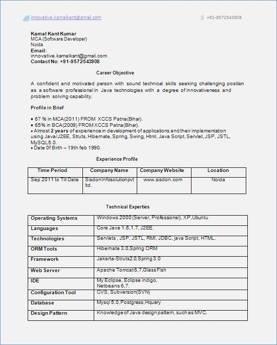 Resume Format 1 Year Experienced Software Engineer #engineer