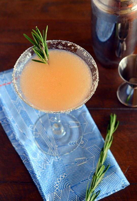 Rosemary Salty Dog:  2 1/2 ounces fresh grapefruit juice  Kosher salt  2 sprigs rosemary, plus 1 sprig for garnish  1/2 teaspoon sugar  1 1/2 ounces gin