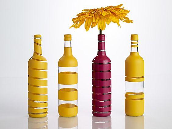 DIY Painted-Stripe Wine Bottle Vases: