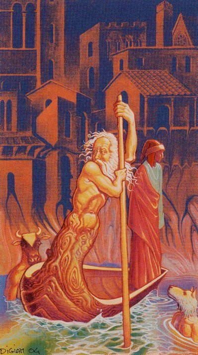 Six of Swords - Tarot of Methamorphosis by Massimiliano Filadoro, Luigi di Giammarino