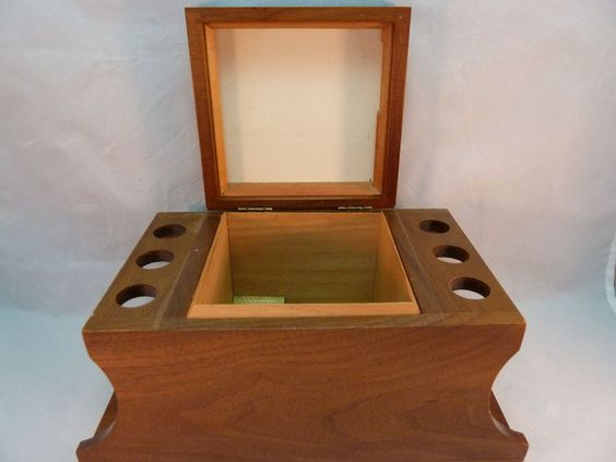 Vintage Pipe Stand + Humidor Decatur Industries USA Solid Walnut Holds 6 Pipes #DecaturIndustries