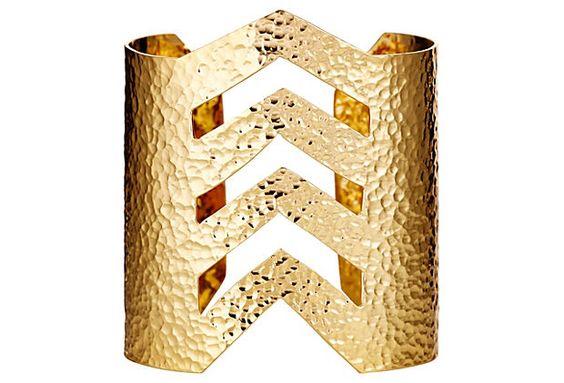 22K Gold Plated Chevron Cuff on OneKingsLane.com