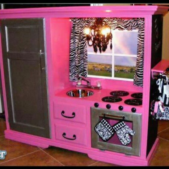Kids play kitchen play kitchens and kitchen designs on for Pink kitchen ideas