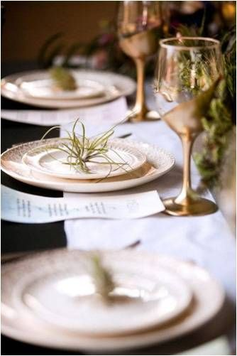 Accents tables with classic gold  and garnish settings with air plants