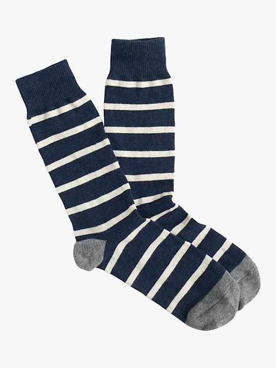 J Crew Naval Stripe Socks One Size Navy White Socks Mens Socks Happy Socks