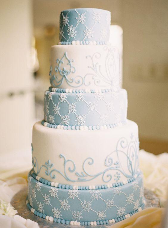 Five Tier Round Blue and White Wedding Cake