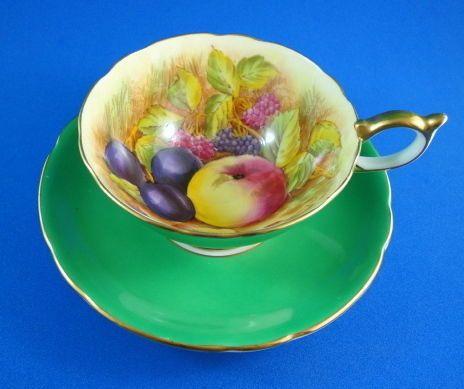 Emerald Green D.Jones Fruit Painted Aynsley Tea Cup and Saucer Set