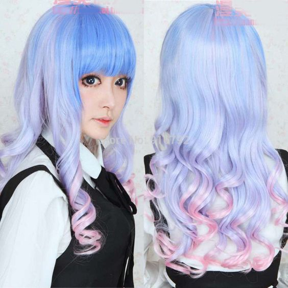 Ladies Harajuku New Fashion LOLITA Cosplay Party Wig Blue+Pink Curly Wave Hair Full Long peruca Peluca perruque parrucca Wigs     #http://www.jennisonbeautysupply.com/    http://www.jennisonbeautysupply.com/products/ladies-harajuku-new-fashion-lolita-cosplay-party-wig-bluepink-curly-wave-hair-full-long-peruca-peluca-perruque-parrucca-wigs/,     Welcome you To Buy Come Happiness shopping CAP TYPE: Wefted Cap with Skin Top CAP SIZE: Average Size:Fit all Item specifics Condition:      New…