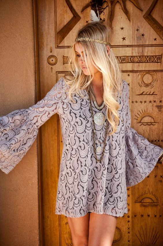 lace. flared sleeve dress. lovely