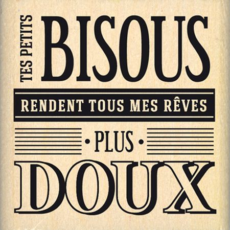 Tampon bois - Envolée de Douceur - Doux bisous  - 4,4 x 4,4 cm