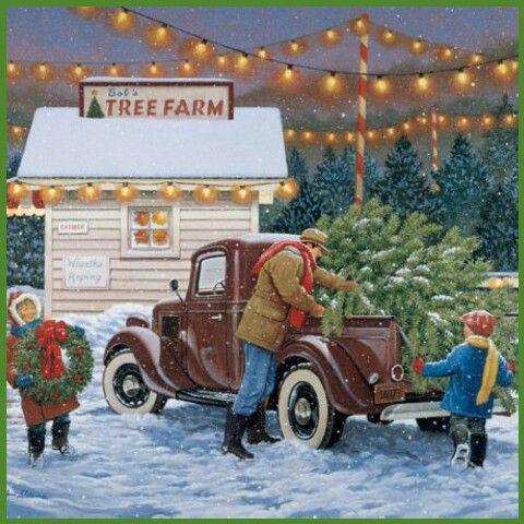 A lovely small tree farm. Dad loads the freshly cut Christmas tree in his truck. 'Hot chocolate daddy please'?