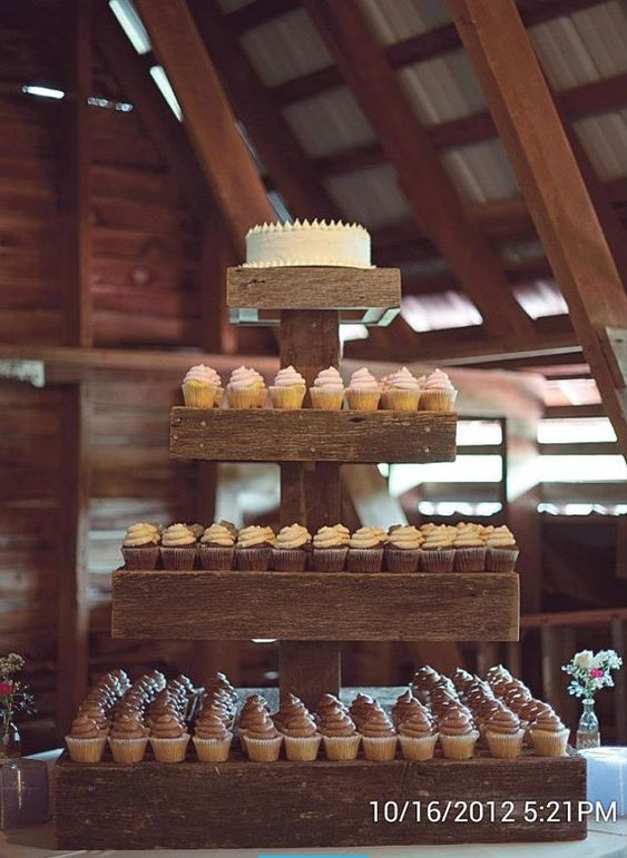 Barn wood cupcake stand by callabelleboutique on etsy for Cupcake stand plans