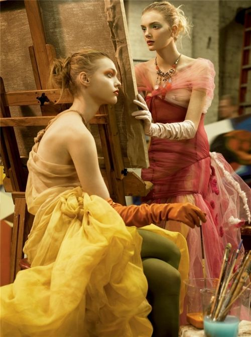 "Sasha Pivovarova and Lily Donaldson photographed by Steven Meisel in ""Strokes of Genius"" for Vogue US March 2006"