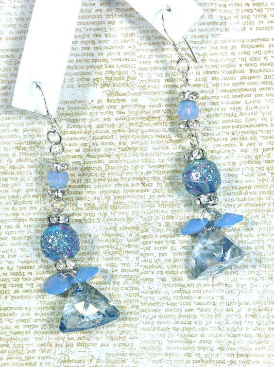 Light Iridescent Blue Vintage Dangle Bridesmaid by WeddingChateau