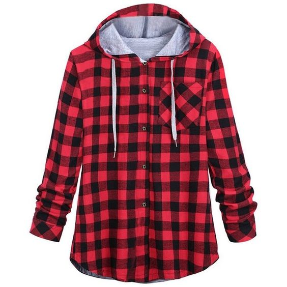 iBaste Plus Size Women Plaid Shirt Winter Hoodie Long Sleeve Cotton... ($28) ❤ liked on Polyvore featuring tops, hoodies, long sleeve shirts, red hooded sweatshirt, red long sleeve shirt, women plus size tops and plus size shirts