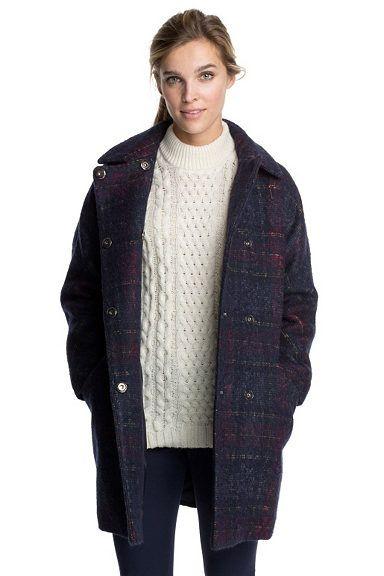 ESPRIT CASUAL Wolliger Mantel mit abgedunkeltem Karo