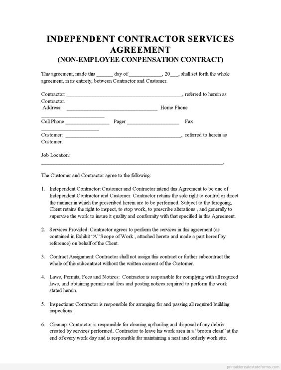 Printable Sample Indep Contractor Agreement  Form  Products